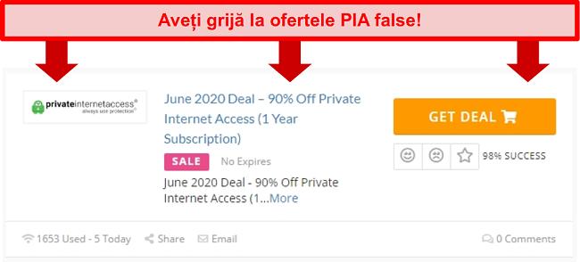 Screenshot a unei tranzacții PIA false care oferă 90% reducere
