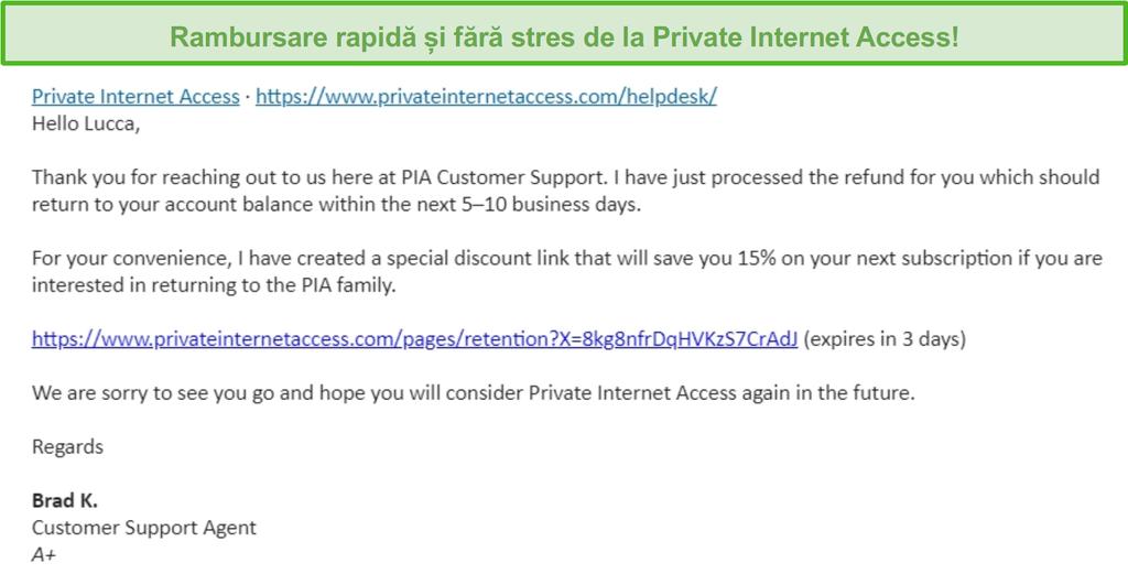Captura de ecran a unui e-mail de la PIA, având o cerere de rambursare aprobată în baza garanției de returnare de 30 de zile
