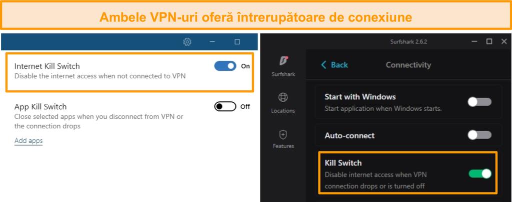 Captura de ecran a switch-urilor integrate de NordVPN și Surfshark.