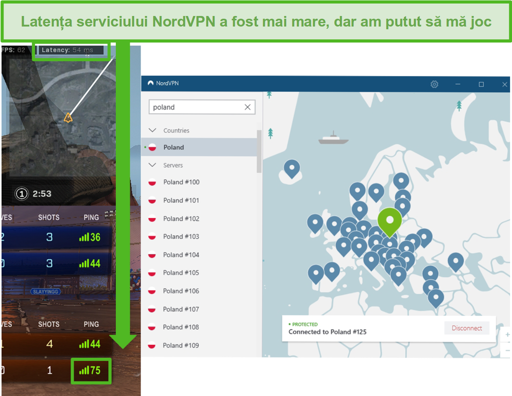 Screenshot de Call of Duty: Warzone și Rocket League latență rezultate în timp ce jocuri cu NordVPN conectat.