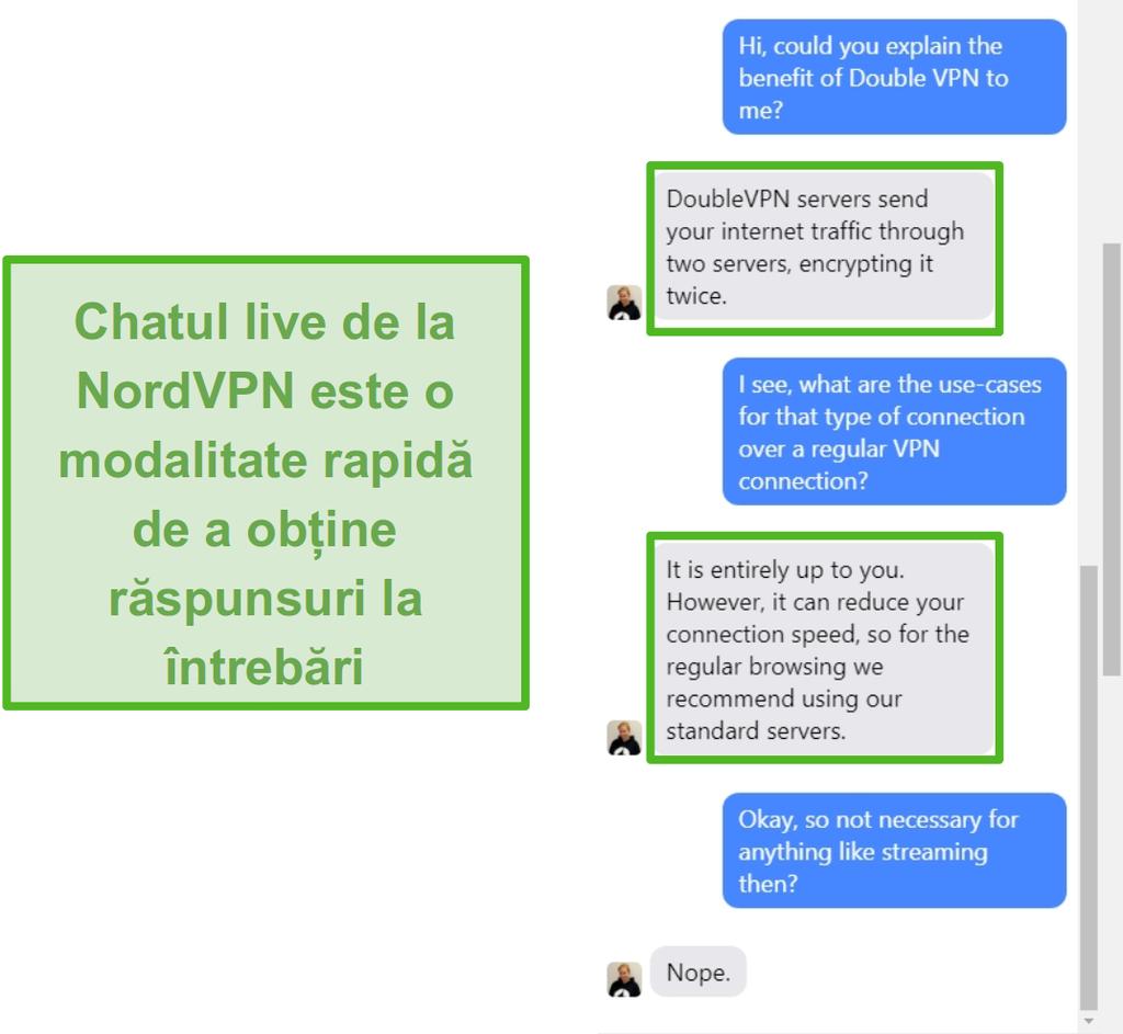 Captură de asistență de chat live NordVPN.