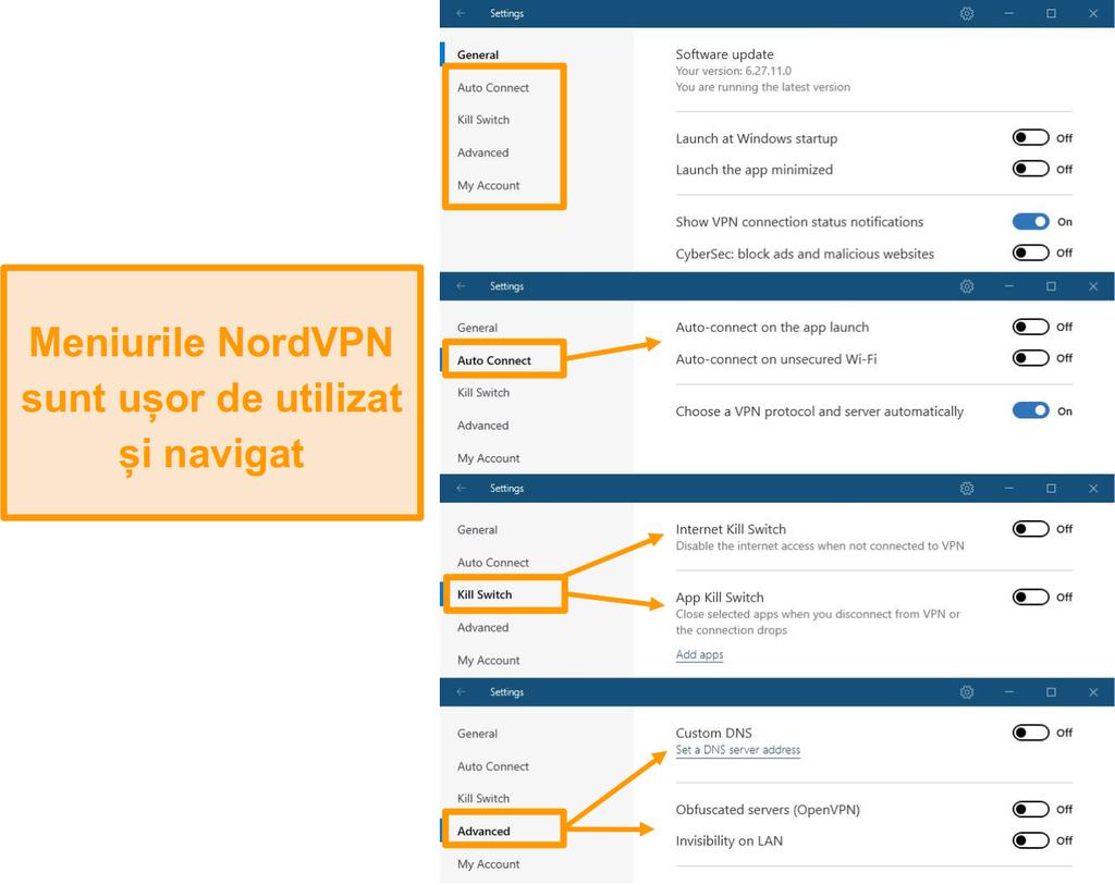 Captura de ecran a meniurilor desktop NordVPN.