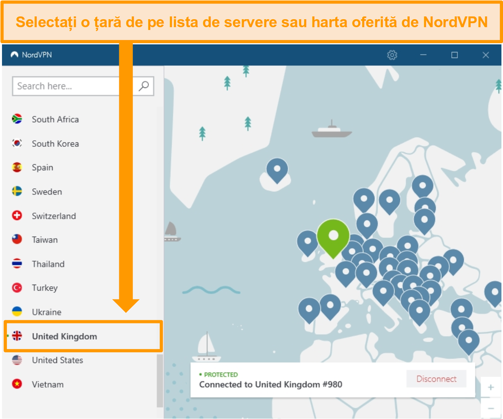 Screenshot de NordVPN conectat la un server din Marea Britanie.