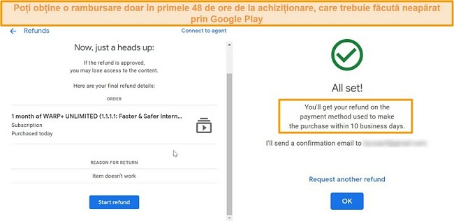 Capturi de ecran ale procesului de rambursare WARP Google