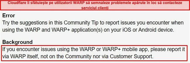 Captură de ecran a informațiilor de asistență pentru clienți WARP ale Cloudflare, informând utilizatorii să folosească aplicația doar pentru probleme de asistență.