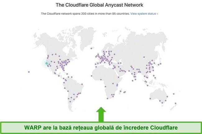 Captură de ecran care arată Cloudflare's, compania mamă a Warp, rețeaua globală și modul în care crește viteza WARP
