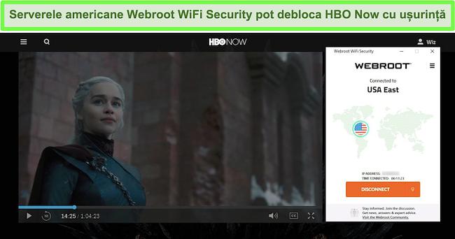 Captură de ecran a HBO Acum jucând Game of Thrones în timp ce sunteți conectat la un server din SUA