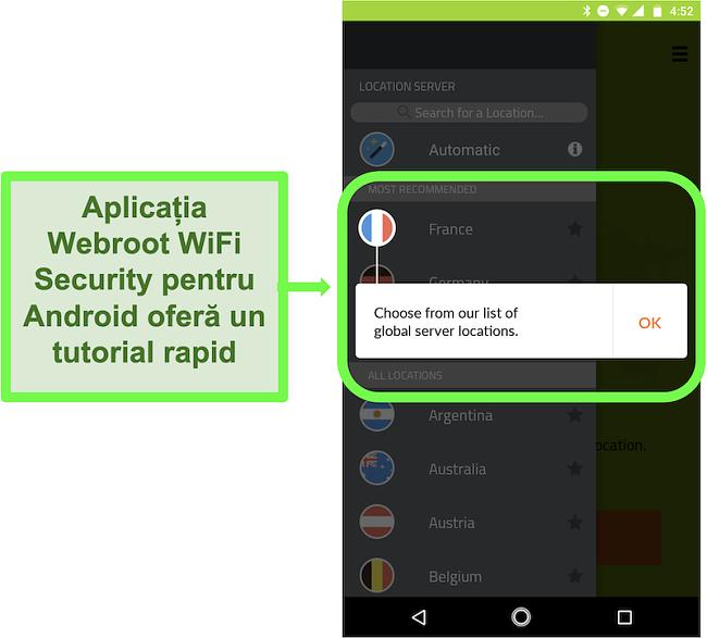 Captură de ecran a aplicației Android Webroot WiFi Security, oferind un tutorial pentru utilizator