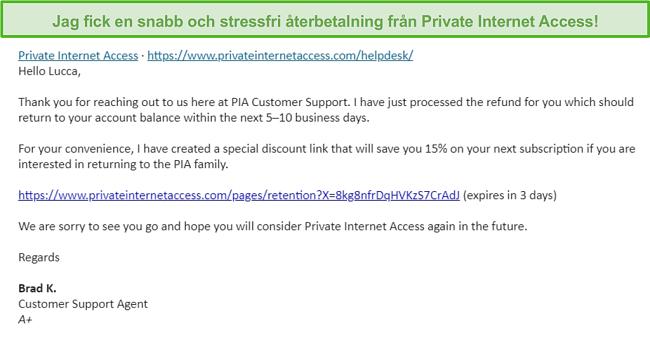 Skärmdump av ett e-postmeddelande från PIA, med en återbetalningsbegäran godkänd enligt 30-dagars pengarna-tillbaka-garanti