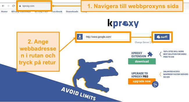 Skärmdump av KProxy målsida
