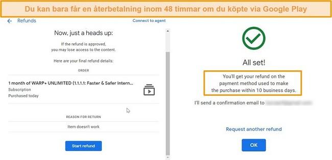 Skärmbilder av WARP Googles återbetalningsprocess
