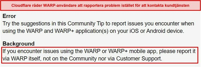 Skärmdump av Cloudflares WARP-kundinformation, som informerar användarna om att bara använda appen för supportfrågor.