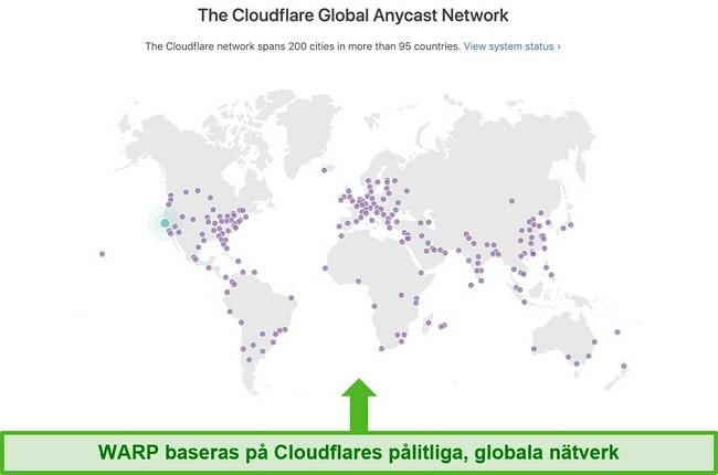 Skärmdump som visar Cloudflare, Warps moderbolag, globala nätverk och hur det ökar hastigheten på WARP