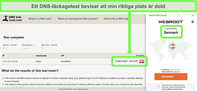 Skärmdump av ett framgångsrikt DNS-läckagetest medan Webroot WiFi Security är ansluten till en server i Danmark