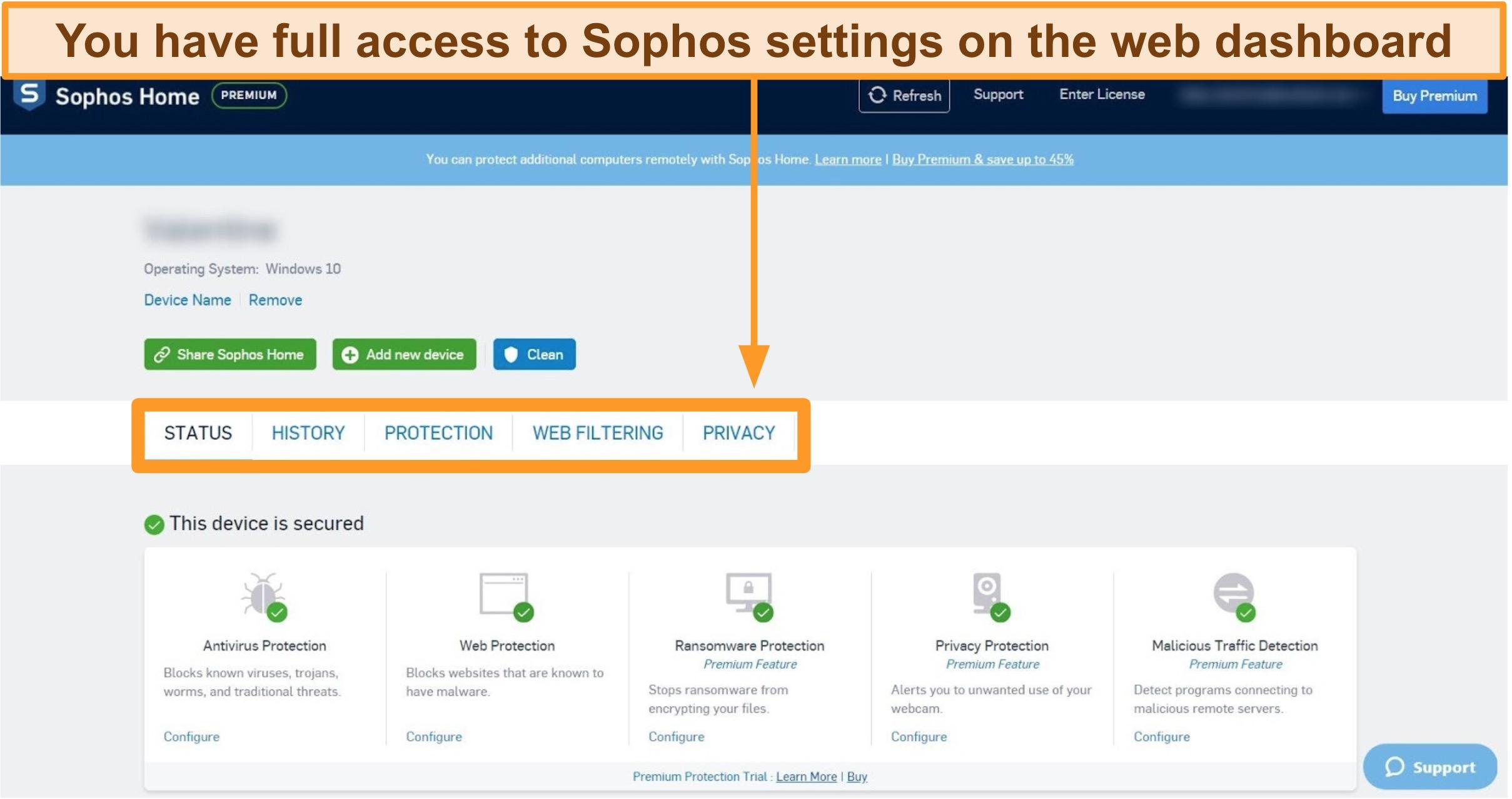 Screenshot of Sophos' web-based Dashboard