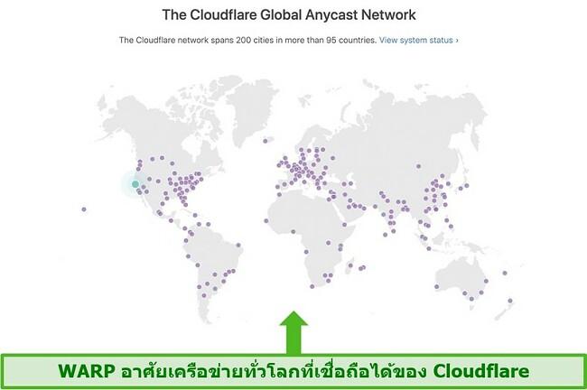 ภาพหน้าจอแสดง Cloudflare บริษัท แม่ของ Warp เครือข่ายทั่วโลกและวิธีเพิ่มความเร็วของ WARP