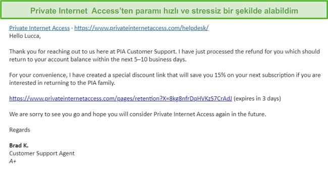 30 günlük para iade garantisi kapsamında geri ödeme talebinin onaylanmasıyla PIA'dan gelen bir e-postanın ekran görüntüsü