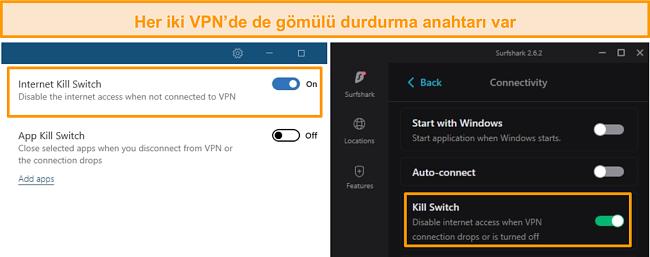NordVPN ve Surfshark'ın entegre kill anahtarlarının ekran görüntüsü.