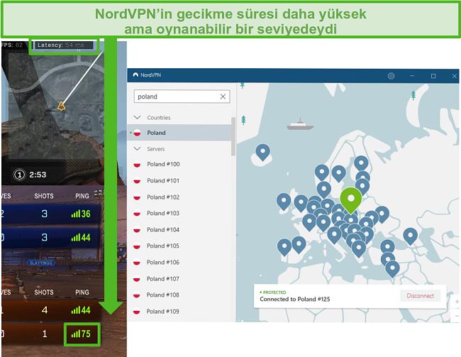 NordVPN bağlı olarak oyun oynarken Call of Duty: Warzone ve Rocket League gecikme sonuçlarının ekran görüntüsü.