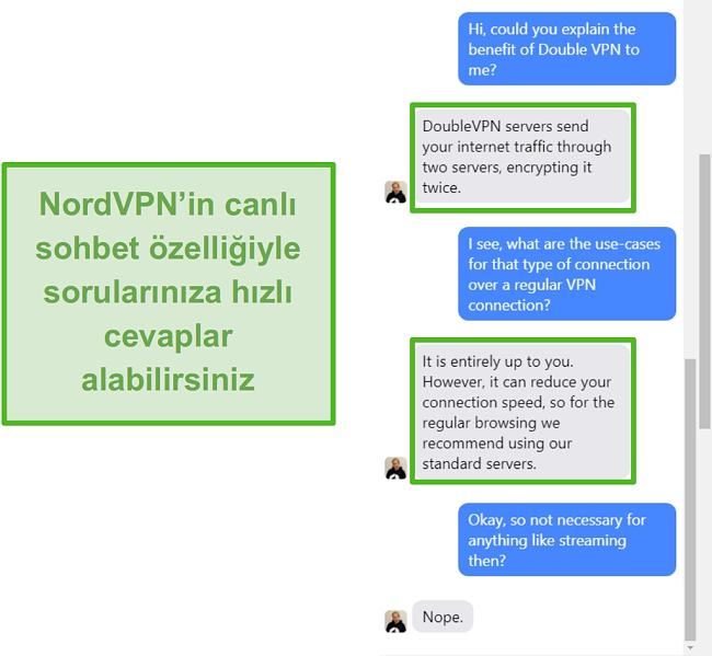 NordVPN canlı sohbet yardımının ekran görüntüsü.