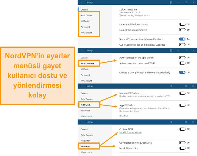 NordVPN'in masaüstü menülerinin ekran görüntüsü.