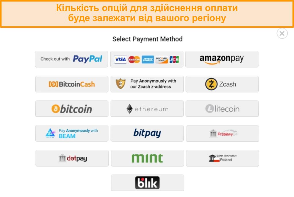 Знімок екрана можливих способів оплати при реєстрації в PIA