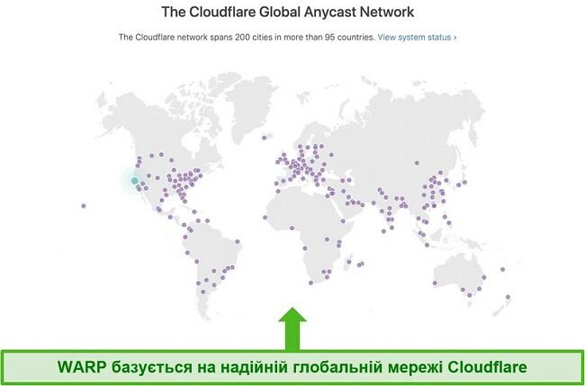 Знімок екрана, що показує Cloudflare, материнську компанію Warp, глобальну мережу та те, як це збільшує швидкість WARP