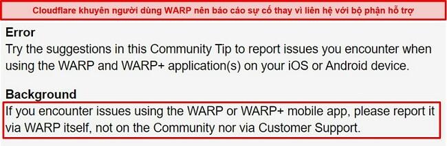 Ảnh chụp màn hình thông tin hỗ trợ khách hàng WARP của Cloudflare, thông báo cho người dùng chỉ sử dụng ứng dụng cho các vấn đề hỗ trợ.
