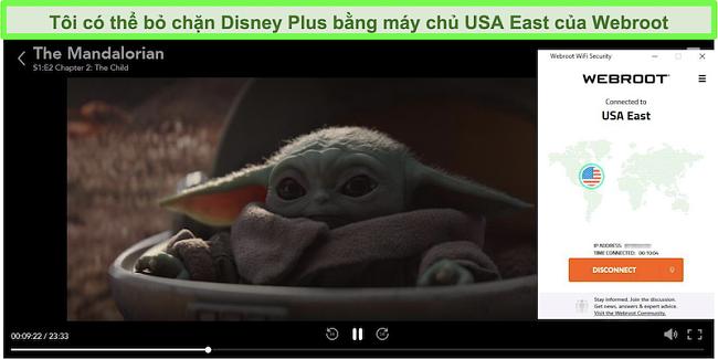 Ảnh chụp màn hình Disney Plus phát The Mandalorian khi được kết nối với máy chủ ở Mỹ