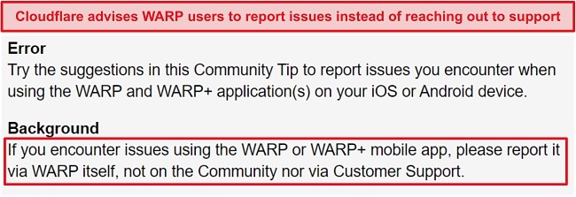 Screenshot of Cloudflare's WARP customer support information, informing users to only use the app for support issues.