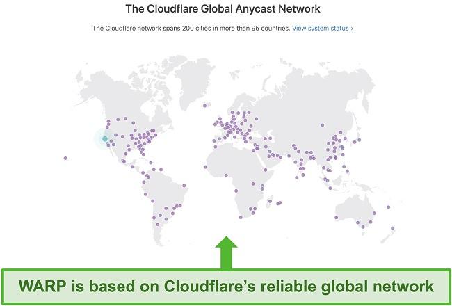 Screenshot of Cloudflare's global server network map.