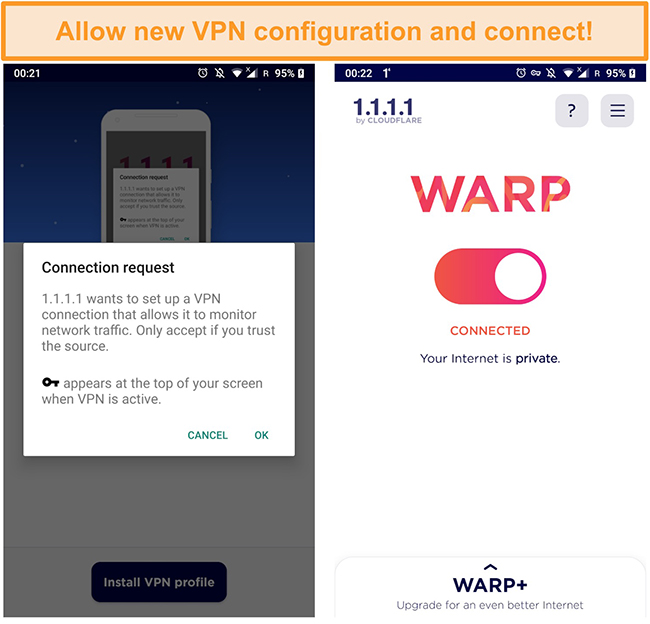 Screenshot of Cloudflare's WARP initiating a connection on an Android phone.