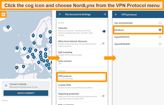 Screenshot of NordVPN app and VPN Protocol settings on Android