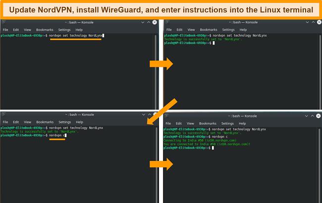 Screenshot of NordVPN Linux app and VPN Protocol settings