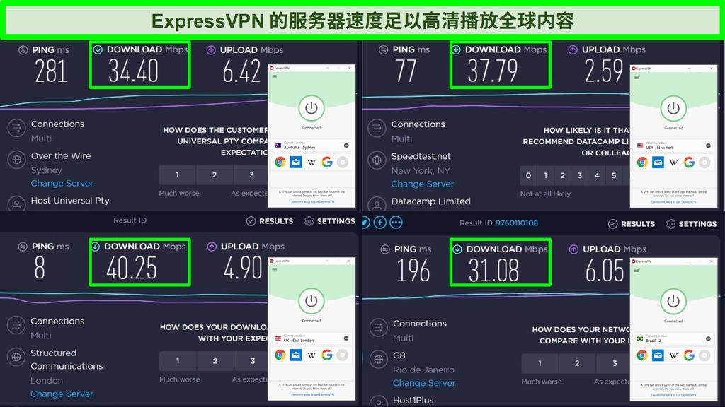Ookla速度测试和连接到澳大利亚,美国,英国和巴西的服务器的ExpressVPN的屏幕快照。