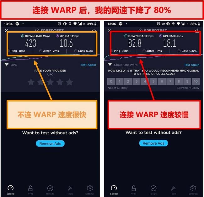 使用WARP将速度降低80%的速度测试的屏幕截图