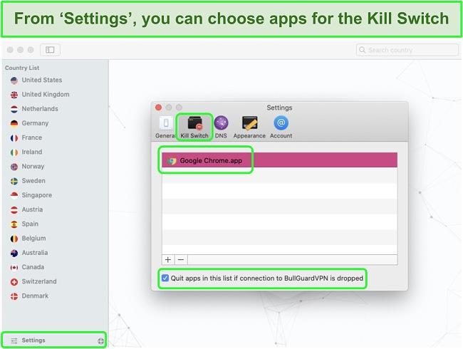 Screenshot of BullGuard VPNs settings menu enabling the Kill Switch for Google Chrome