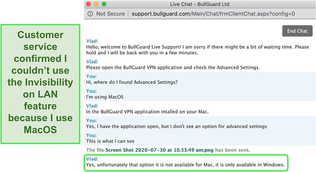 Screenshot of BullGuard VPN's customer service confirming Invisibility on LAN is only available on Windows