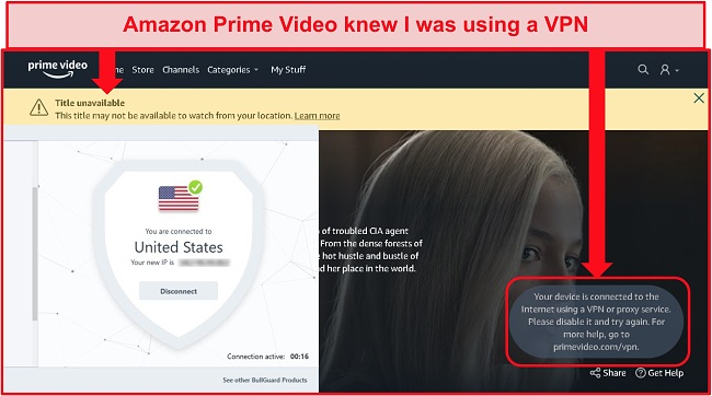 Screenshot of Amazon Prime Video's unavalibility with BullGuard connected