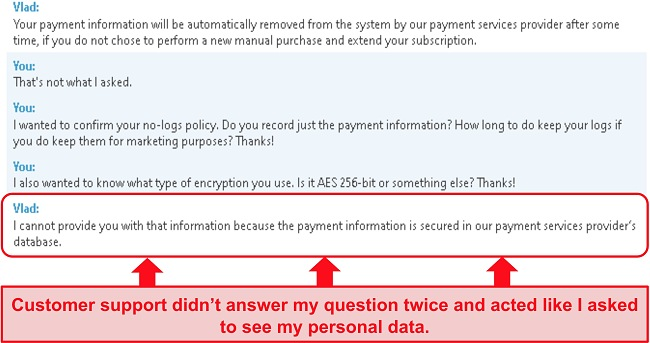 Screenshot of BullGuard's support not answering my question about payment information, then giving me the wrong answer