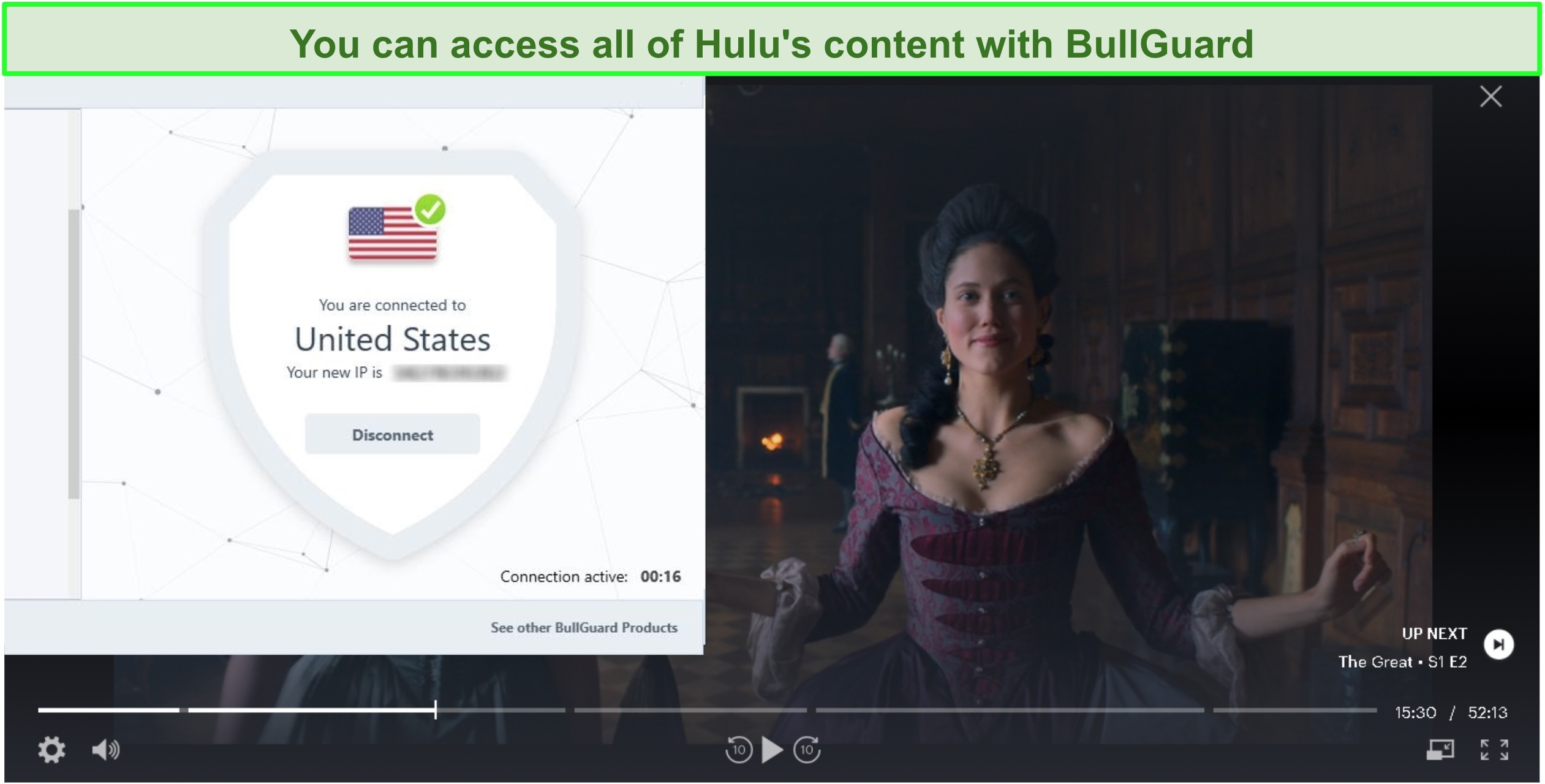 Screenshot of The Great on Hulu with BullGuard connected