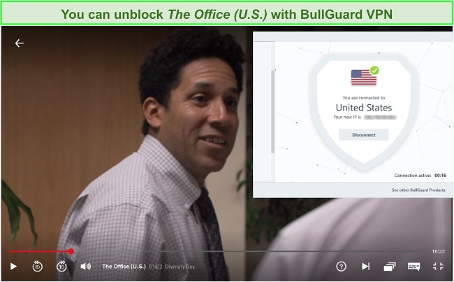 Screenshot of The Office on Netflix with BullGuard connected
