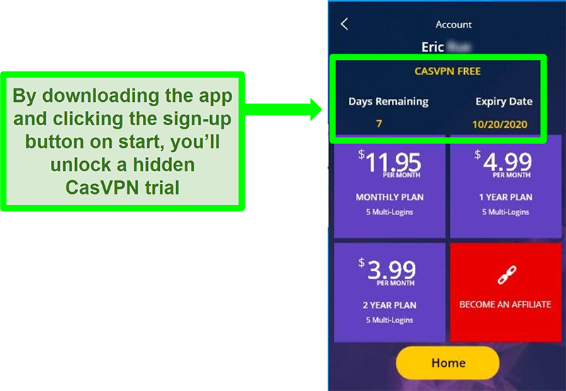 Screenshot of CasVPN's free trial option