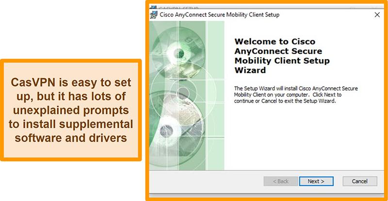 Screenshot of CasVPN's set up prompt