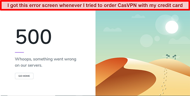 Screenshot of CasVPN error screen during payment