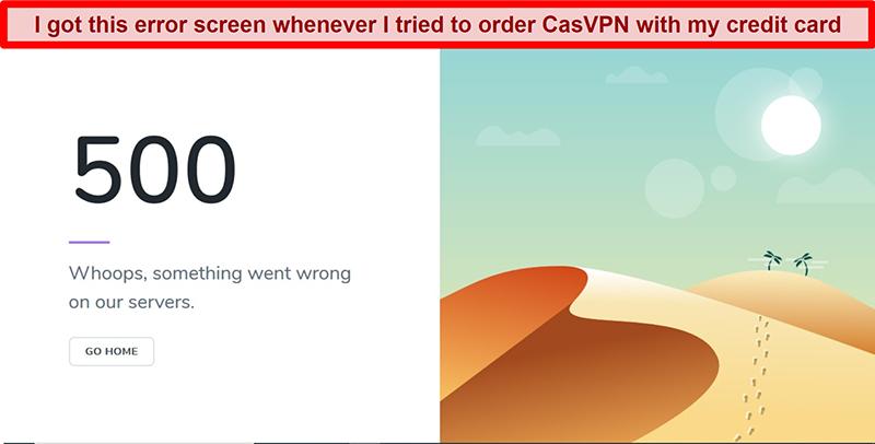 Screenshot of CasVPN error screen during payment