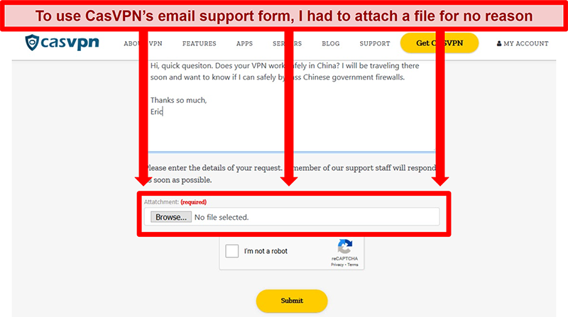 Screenshot of CasVPN's email support form requiring a file upload