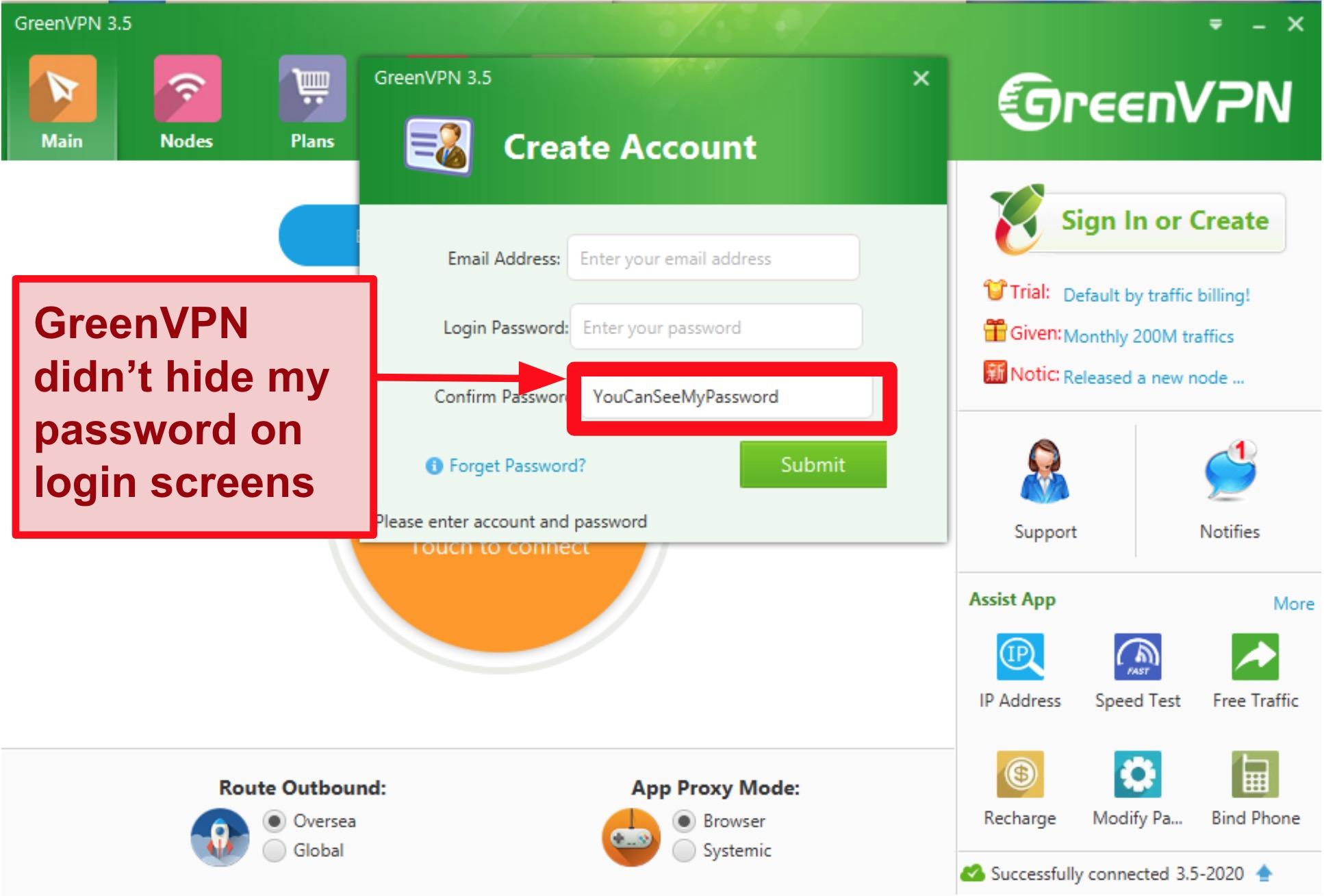 Screenshot of GreenVPN interface showing account creation and login screen.