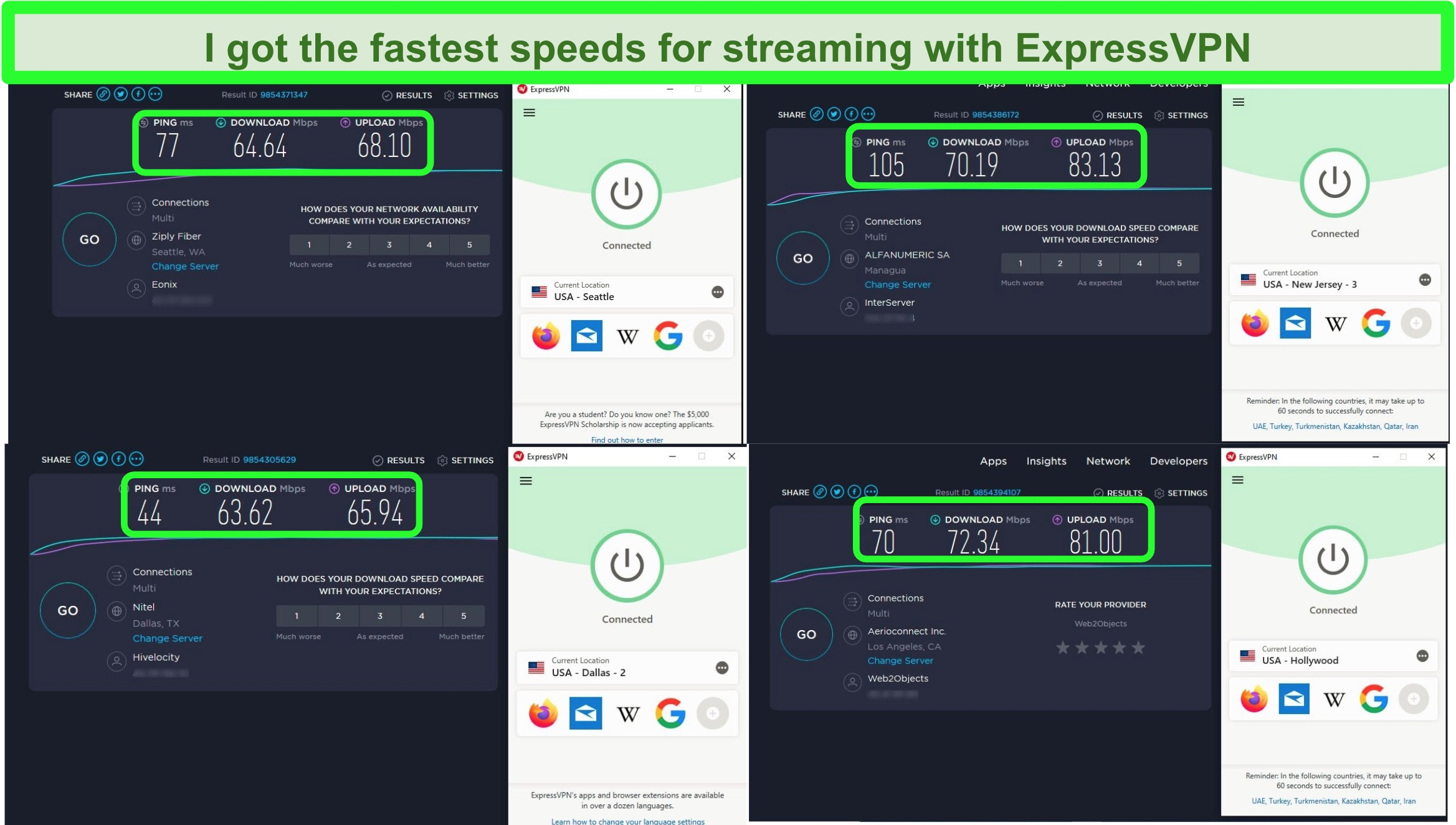 Screenshot of speed tests after connecting to 4 ExpressVPN servers