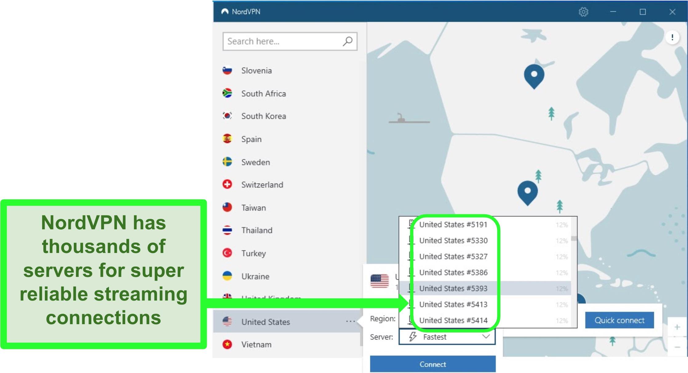 Screenshot of NordVPN's US server dropdown list